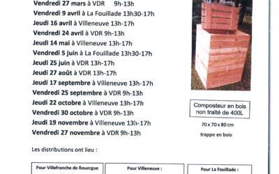Dates de distribution de composteurs en 2020